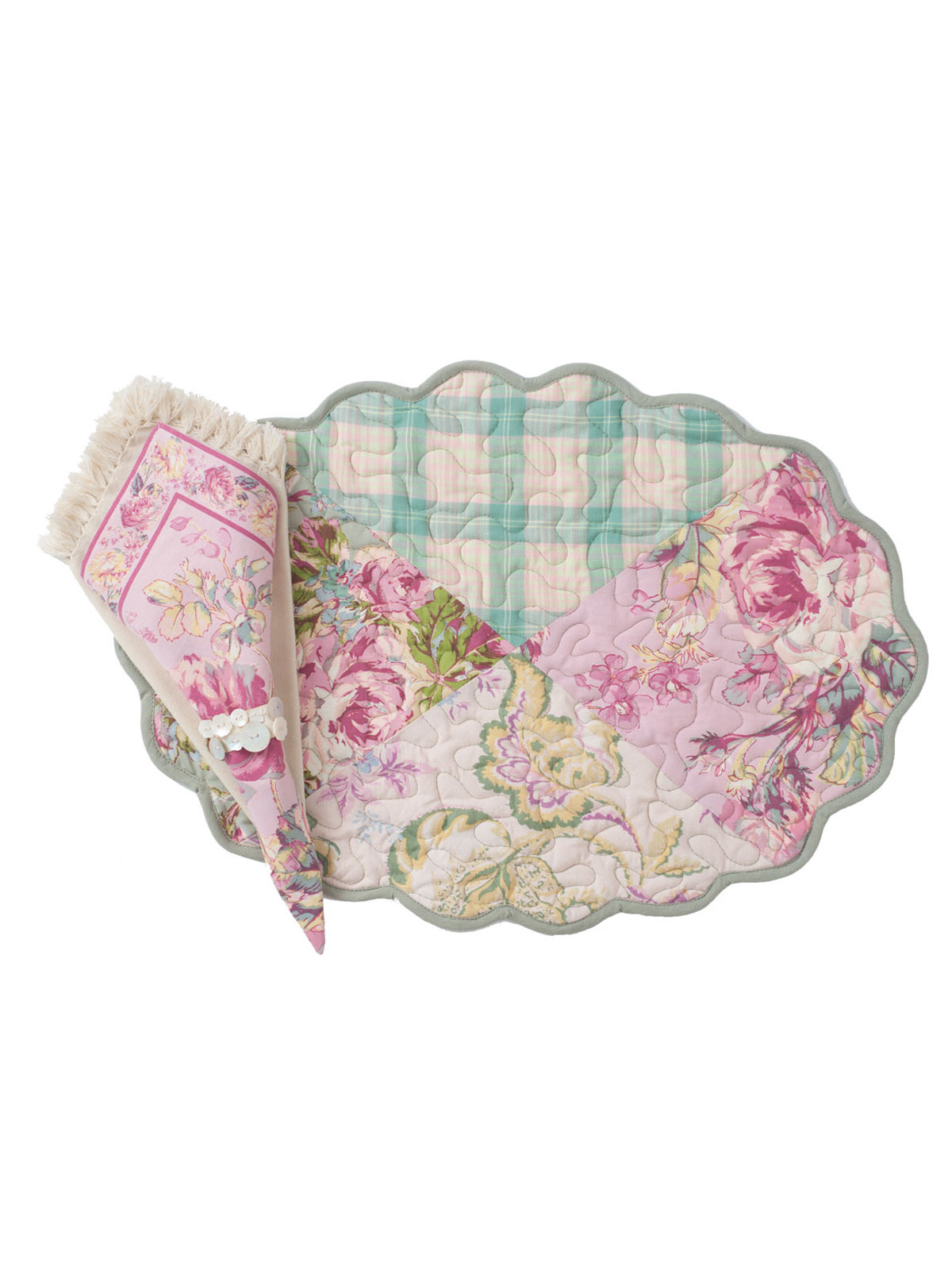 Victorian Patchwork Placemat Quilted Set 4 Linens