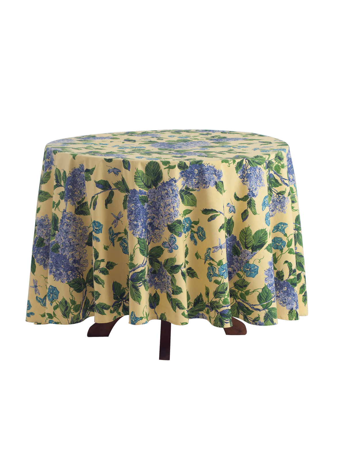 Harriet S Hydrangea Round Tablecloth Yellow Table