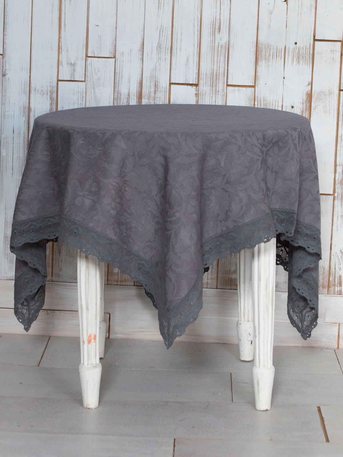Luxurious Linen Jacquard Tablecloth   Charcoal