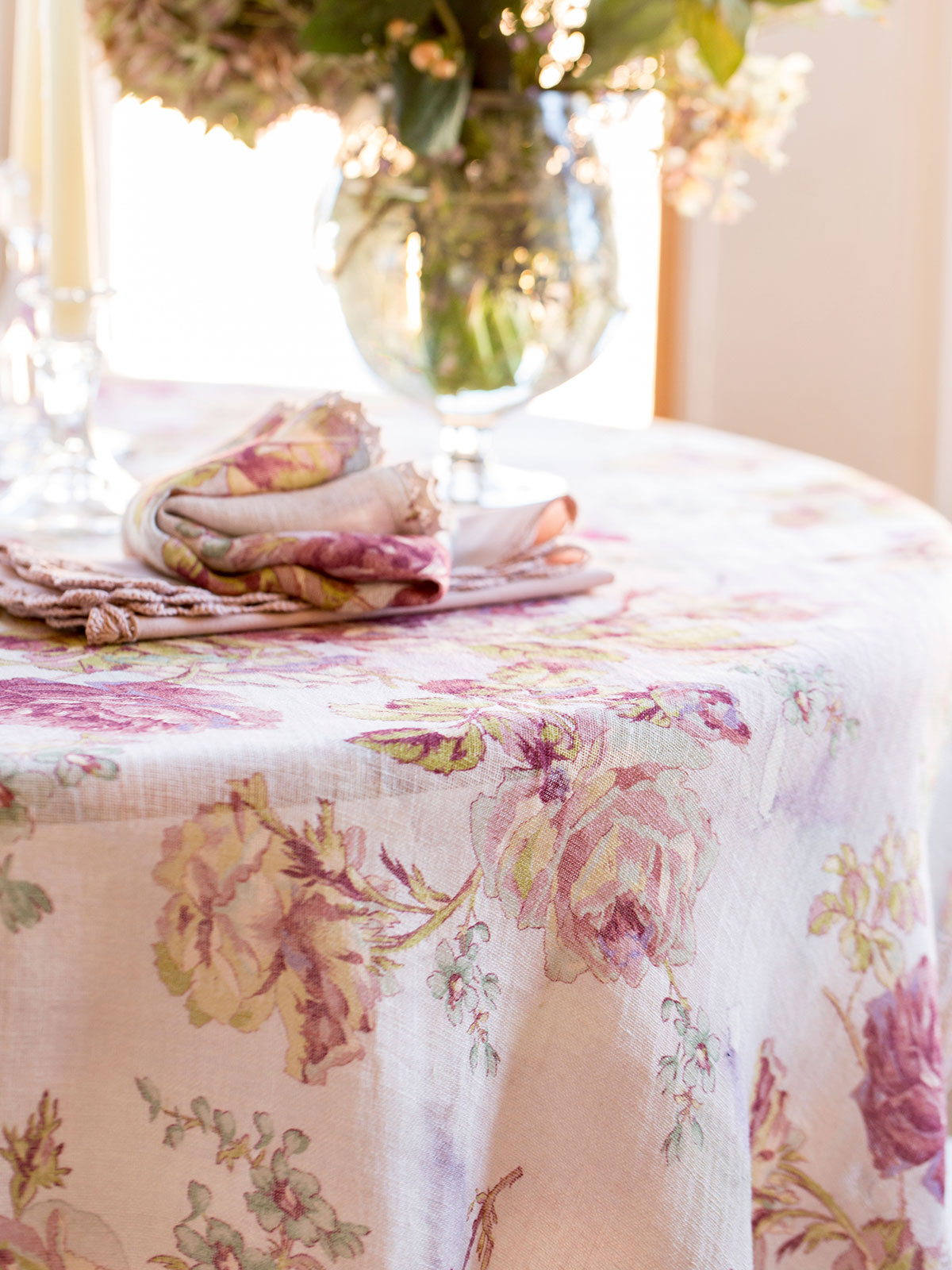 Victorian Rose Linen Tablecloth Linens Amp Kitchen