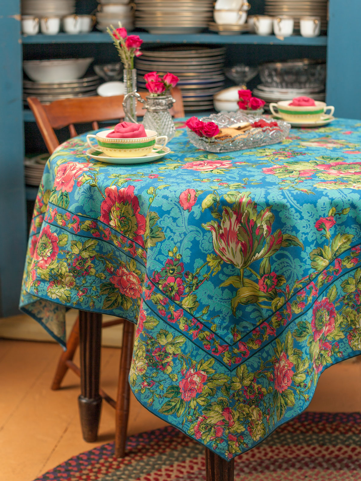 tea rose tablecloth teal attic sale linens kitchen attic beautiful designs by april cornell. Black Bedroom Furniture Sets. Home Design Ideas
