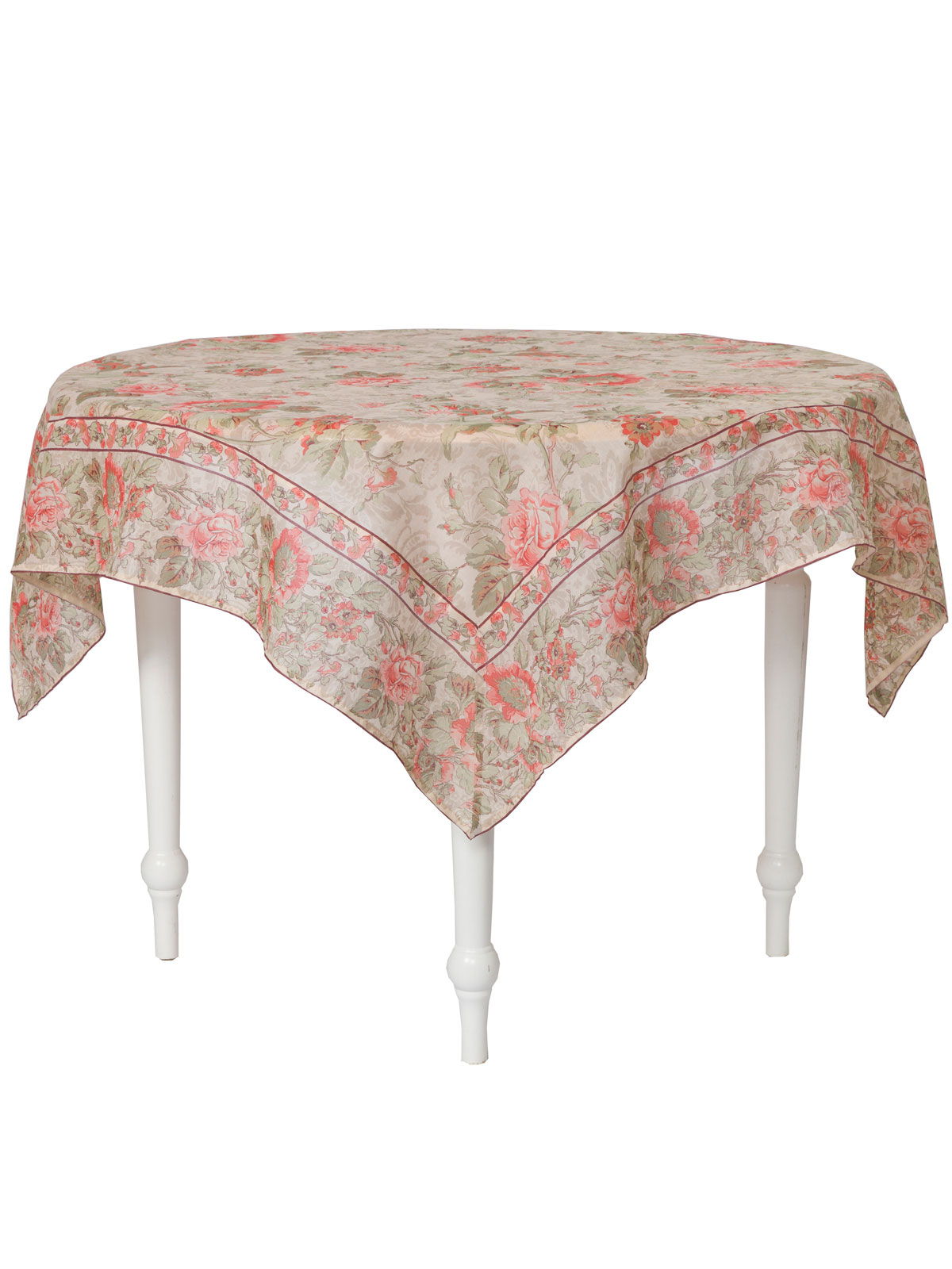 Tea Rose Organdy Topper Cloth Attic Sale Linens