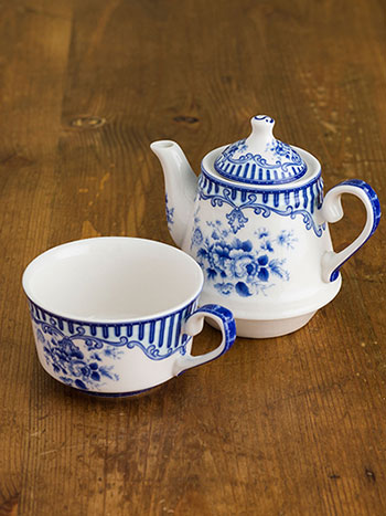 Blue Flower Teapot w/ Cup for One