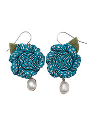 Blue Woven Flower Earrings