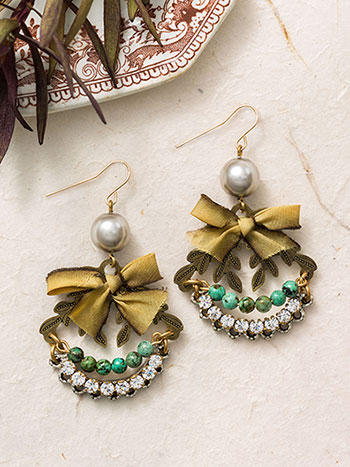 Sparkles and Bows Drop Earrings