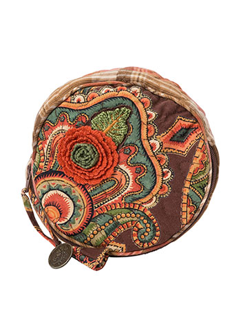 Harvest Riches Patchwork Round Cosmetic Bag