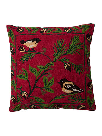 Chickadee Crewel Cushion