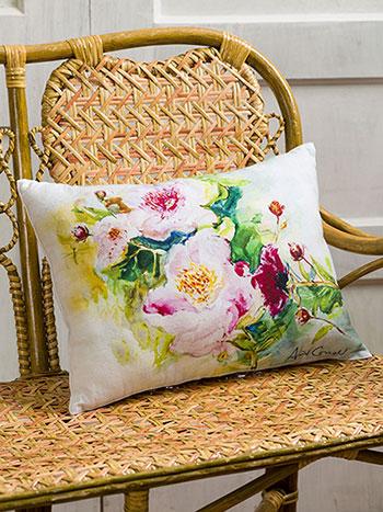 Peony Watercolor Cushion