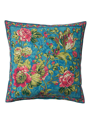 Tea Rose Cushion Cover - Teal