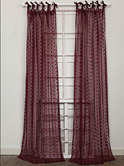 Nanette Embroidered Net Curtain - Wine