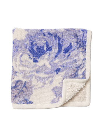 Victorian Rose Terry Face Towel - SoftBlue