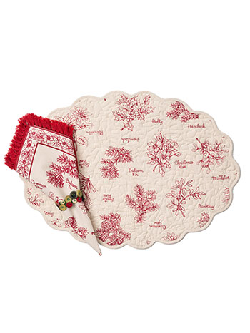 Christmas Botanical Quilted Placemat Set/4
