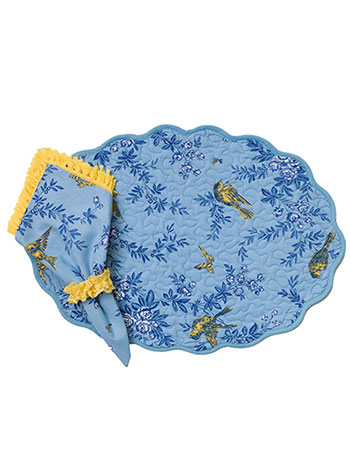 Garden Sparrow Placemat Quilted Set/4