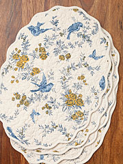 Garden Sparrow Quilted Placemat Set/4