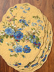 Heirloom Rose Quilted Placemat Set/4 - Gold