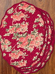Roses Quilted Placemat Set/4