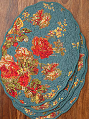 Victorian Rose Quilted Placemat Set/4