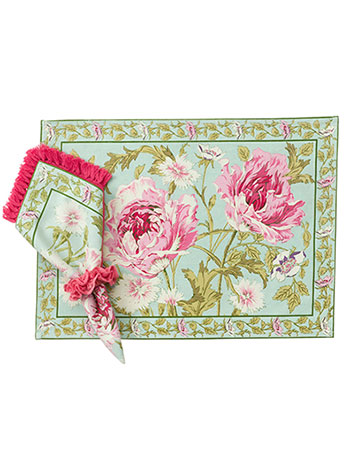 Rose Nouveau Placemat Set/4 - Aqua