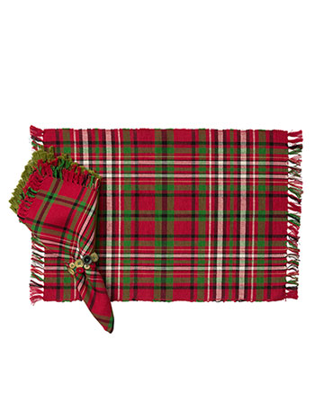 Christmas Plaid Rib Placemat Set/4