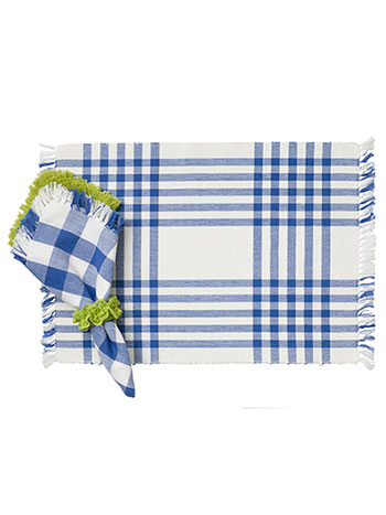 Happy Picnic Gingham Rib Placemat Set/4 - Blue