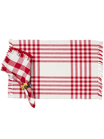 Happy Picnic Gingham Rib Placemat Set/4 - Red