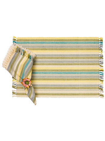 Citrine Stripe Rib Placemat Set/4