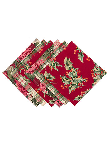 Christmas Patchwork Cocktail Napkin Set/6