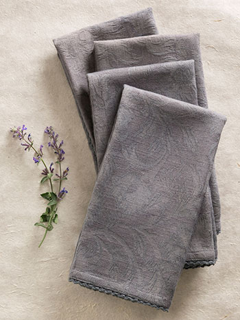 Luxurious Linen Jacquard Napkin Set/4 - Charcoal