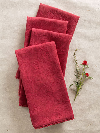 Luxurious Linen Jacquard Napkin Set/4 - Cranberry