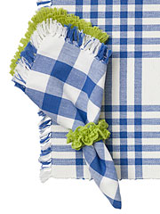 Happy Picnic Gingham Napkin Set/4 - Blue