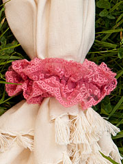 Lucy Lace Napkin Ring Set/4 - Coral