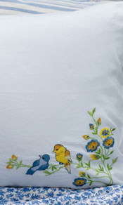Birdy Embroidered Pillowcase