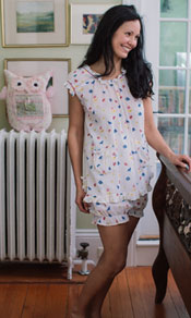 Fleur Bird Ladies Shortie Pajama