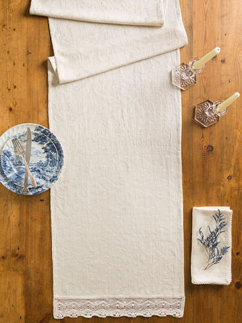 Luxurious Linen Jacquard Runner - Linen
