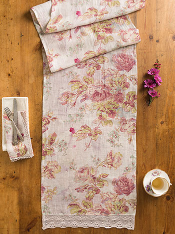 Victorian Rose Linen Runner
