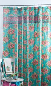 Roses on Stripe Shower Curtain