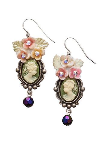 Floral Crowned Cameo Drop Earrings