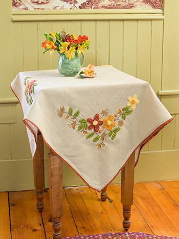 Harvest Homespun Emb Topper Cloth