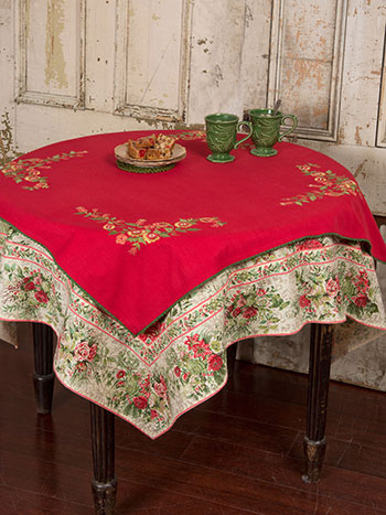 Joyful Embroidered Topper Cloth