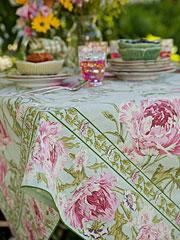 Rose Nouveau Tablecloth - Aqua