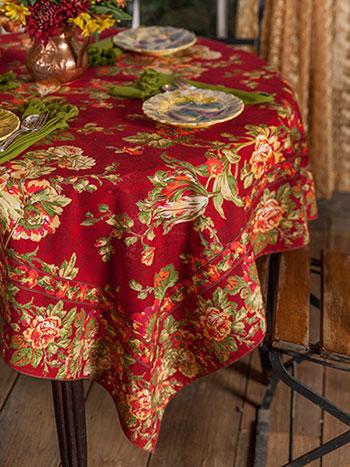 Tea Rose Tablecloth - Brick