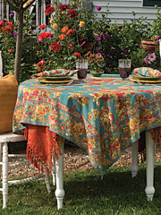 Victorian Rose Tablecloth - Teal