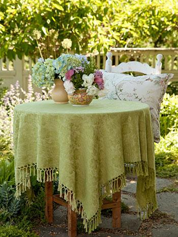 Peony Jacquard Tablecloth - Green