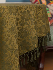 Peony Jacquard Tablecloth - Olive