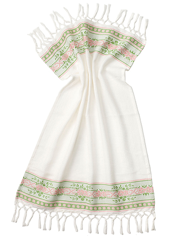 French Jacquard Guest Towel - GreenPink