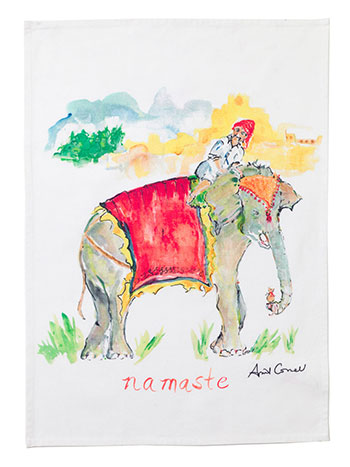 Elephant Watercolor Tea Towel