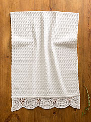 Luxurious Honeycomb Tea Towel - White