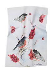 Robin Watercolor Tea Towel