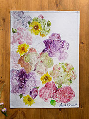 Tumbling Hydrangea Watercolor Tea Towel