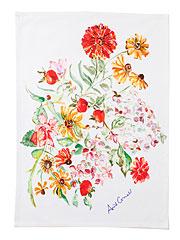 Zinnia Bouquet Watercolor Tea Towel